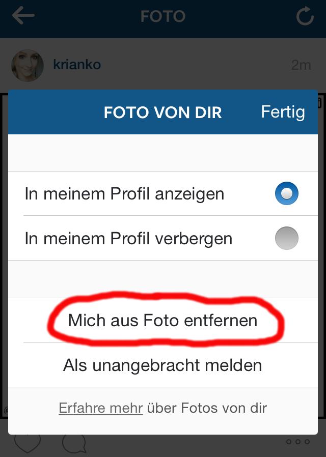 Instagram Markierung Entfernen